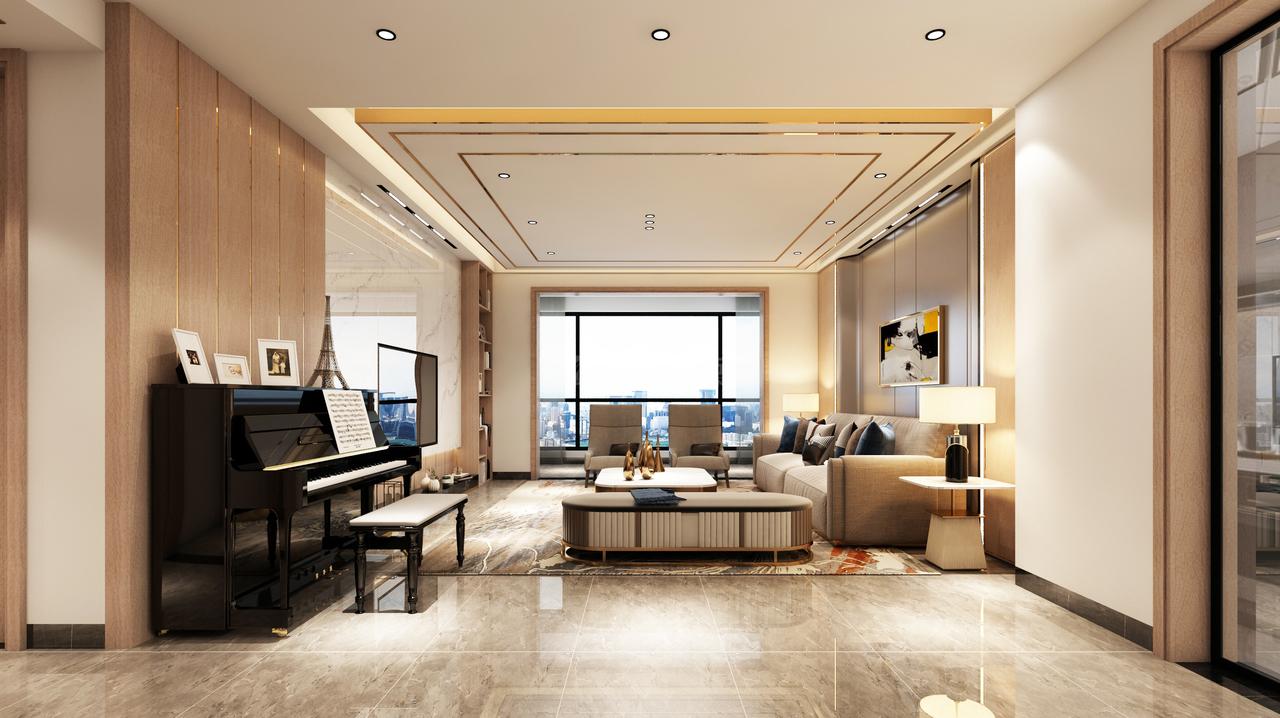 优雅灰与奶油白,给人一种简洁大气的感觉,不规则涟漪地毯,色彩灵动,轻盈活泼,顶部的灯带光源,柔和多变,丰富视觉效果,保持空间的延展性和流动性。