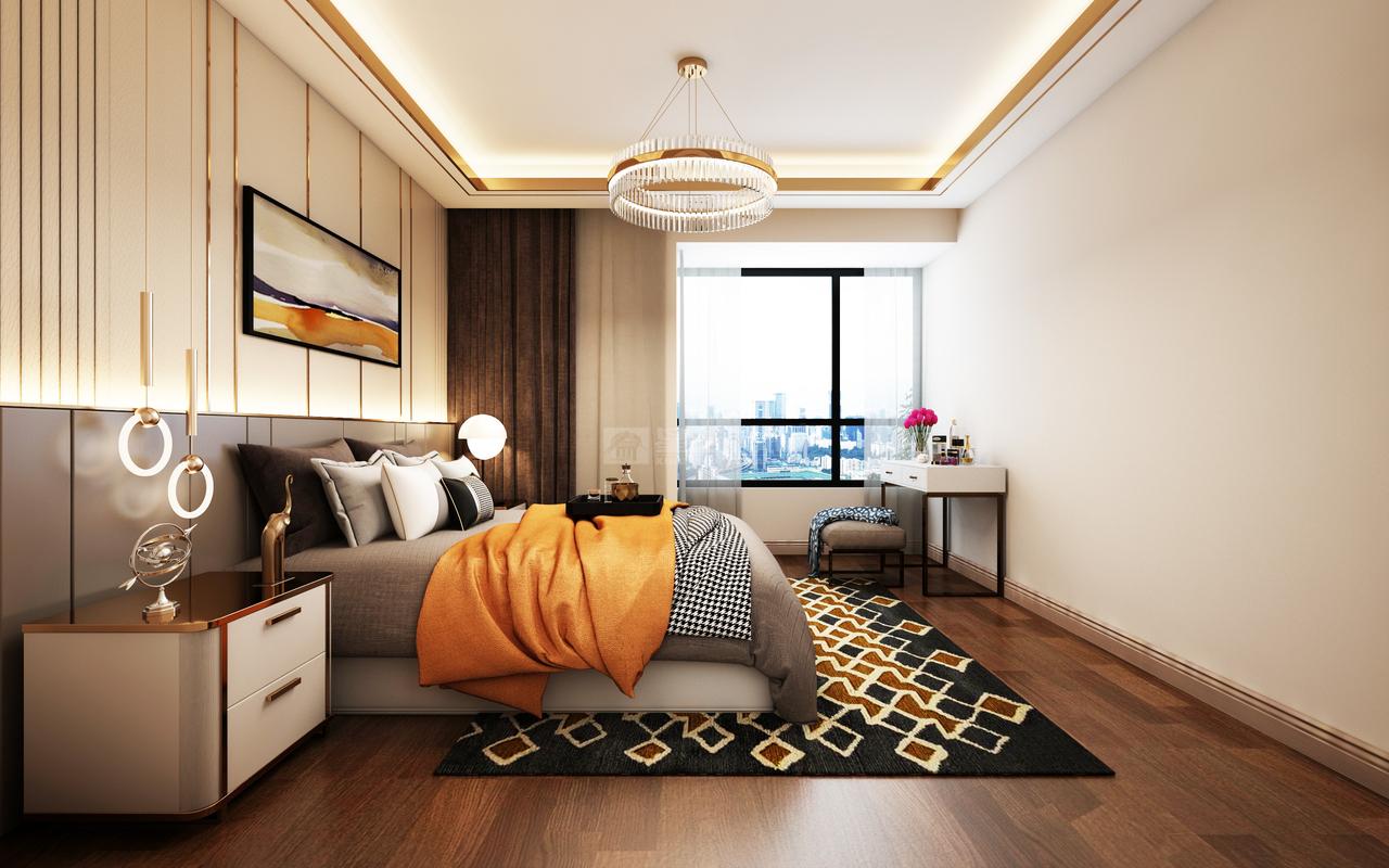 高级灰加活力橙,绝代双骄的完美搭配。灰色沉静内敛,爱马仕橙热情奔放,均衡空间,格调高雅,极具时尚感召力。干净利落的黄铜线条,质地柔软的格纹地毯,精致奢华,让原本的单调的空间气质瞬间提升。