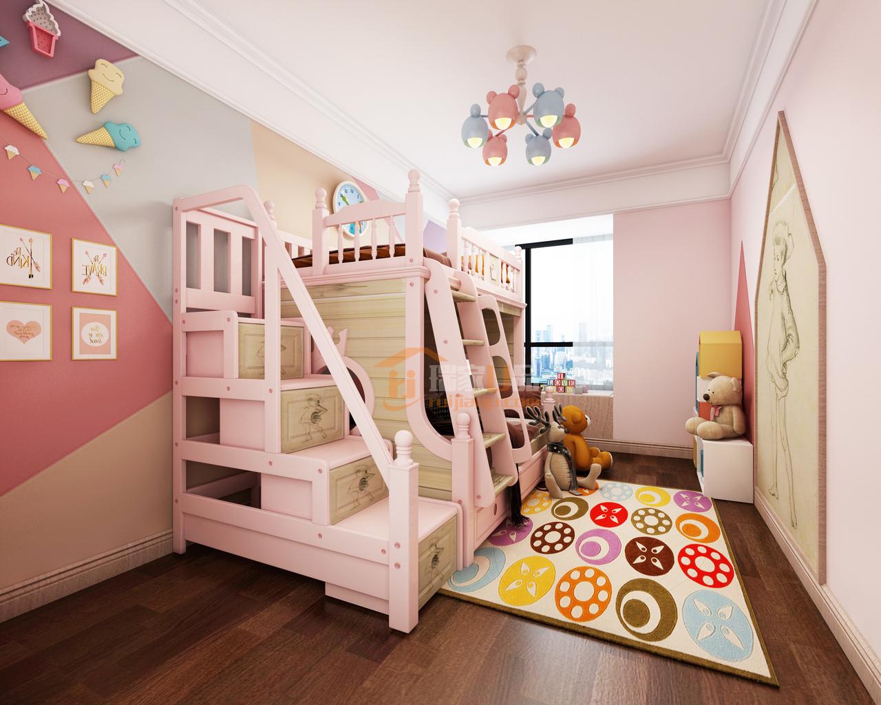 粉色,赋予房间一种梦幻色彩,唯美朦胧,目之所及皆是温柔美好。 上下两层的小床,足够孩子释放活力,同时还有收藏储纳的功能,一举两得,经济实用。不规则色块勾勒出整面背景墙,辅以精致小物件点缀,温馨可爱,恰到好处,让人一眼爱上它。