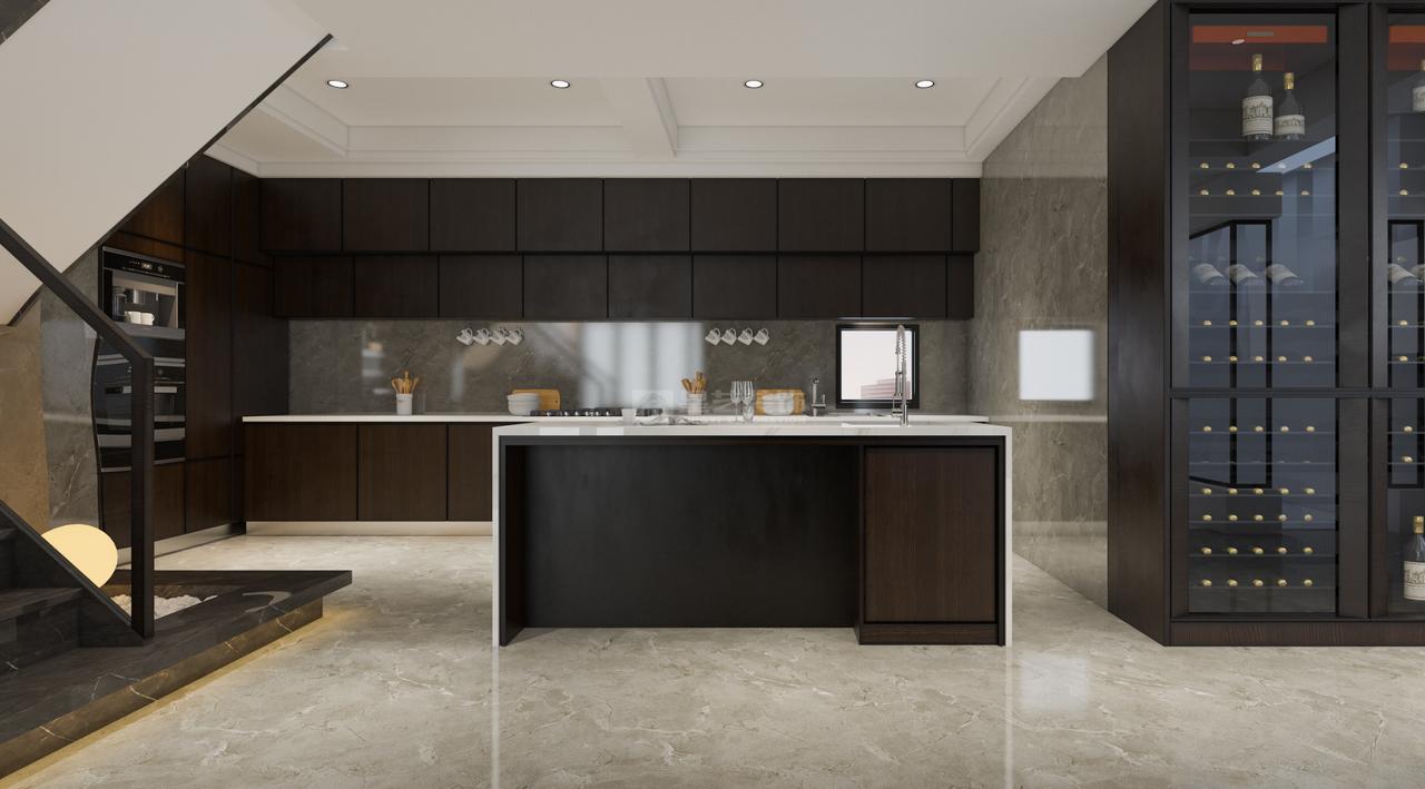黑白灰色系的开放式厨房给现代风的家增添不少高级感,黑白灰混合空间,是现代艺术文艺精巧的融合,整体以最为低调的黑白灰三色为主,营造质感空间。