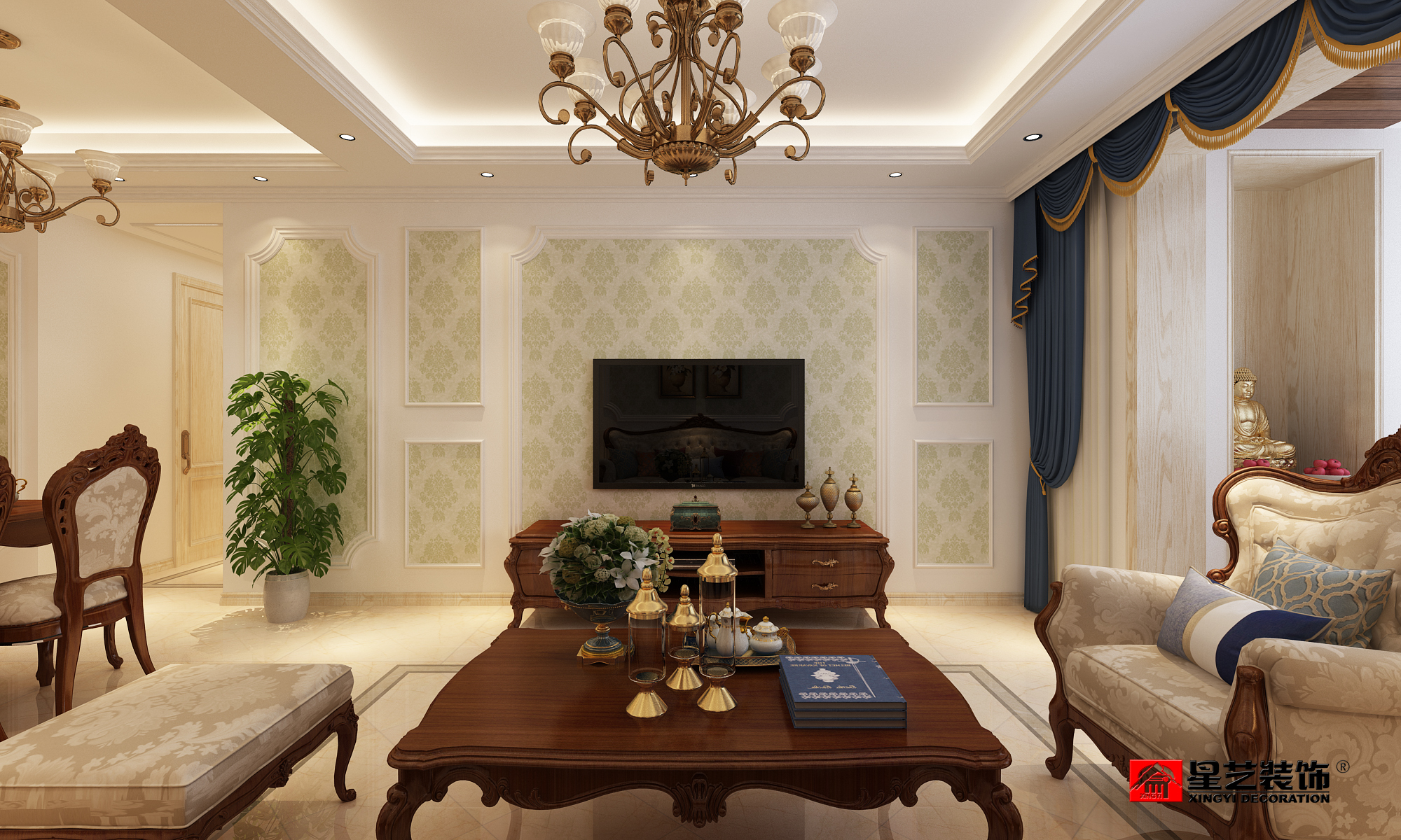 大连紫御观邸,欧式风格,大连装修设计,大连装修案例,大连装修效果图,大连装修设计方案