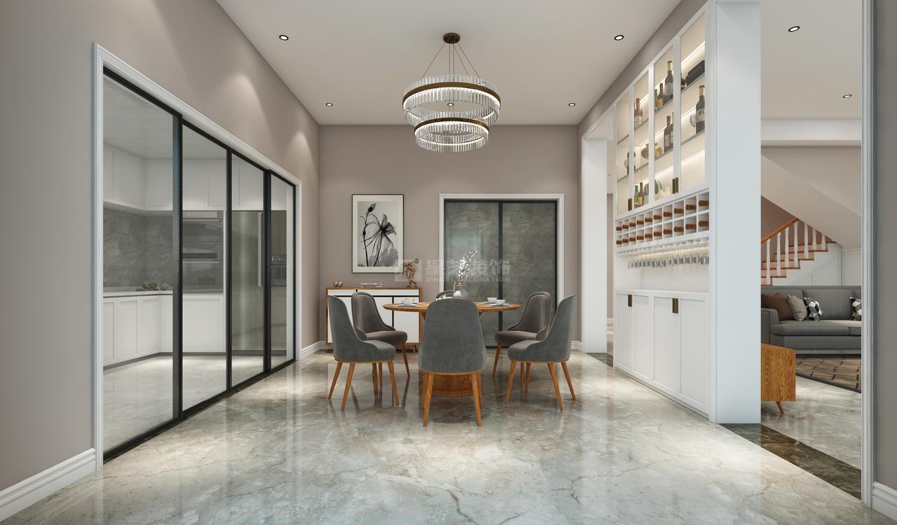 餐厅与厨房,以玻璃门做隔断,打开一起体验烹饪过程,关上避免厨房油烟,互动感体验感较好。