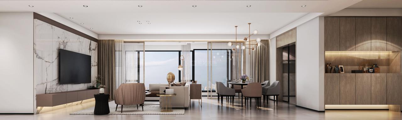 客餐厅与阳台相连,超大落地窗设计,提高空间的通透性。大面积的白色足够包容与纯净,站在窗前,让居者安静地凝视感受生活。餐厅与客厅同处于一个空间之中,增强家人之间的互动联系。