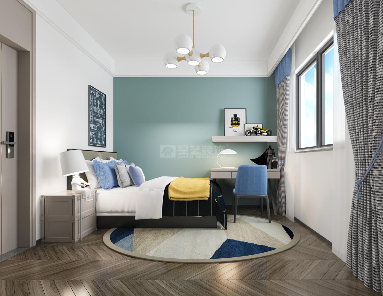 浅灰绿的背景,搭配矢车菊蓝、柠檬黄,打造轻松休闲的空间。黑白格纹的窗帘,床头柜的台灯,细节之处尽显艺术趣味与生活品质。