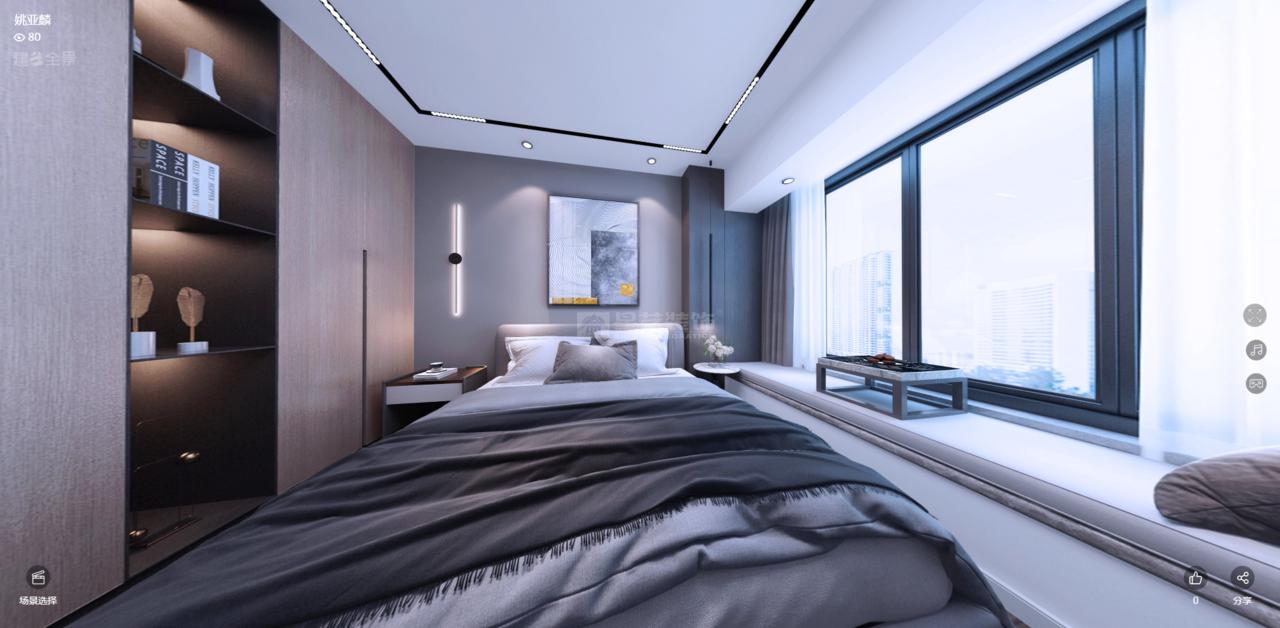 卧室整体以灰色铺陈,低调优雅,窗框选用静谧蓝色,给人一种绵延诗意感。原木色衣柜内嵌于墙体之中,经典实用;深色金属材质展架,在灯光的映衬下,营造出神秘的氛围;奶油白色的运用,丰富空间色彩,视觉上达到黑白灰的平衡,再点缀艺术挂画,赋予整个空间高级感。