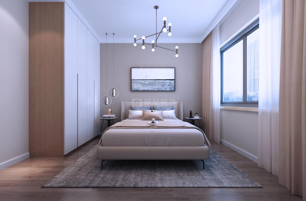 素色为主,温馨平静,极具设计感的吊灯,引人注目,丰富空间的层次感。灰窗白纱,柔和雅致,清晨或午后,静静享受沐浴在阳光下的幸福感。