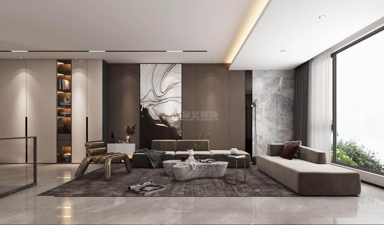 柔软舒适的布艺沙发,搭配设计感十足的金属座椅,精致优雅,提升整个空间质感。造型别致的小茶几,放置可爱小人雕塑,休闲随意,尽享生活情趣。