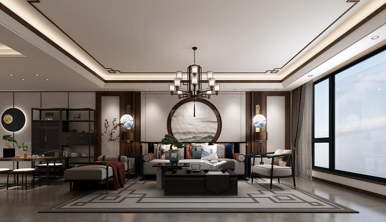 客厅是传统与现代的碰撞,简洁素雅与悠然诗意自然衔接,使生活的实用性和对传统文化的追求同时得到了满足。背景墙造型简洁,却在醒目位置绘制圆形山水画,组合巧妙,给人强烈的视觉冲击感,是时尚与古典的柔媚结合。 黄铜镶边装饰画,均衡对称,优美精致;宫灯设计,让空间气质更上一层;绿植、布艺等其他装饰物,数量不多,却是画龙点睛,赋予空间轻盈灵动的特质。